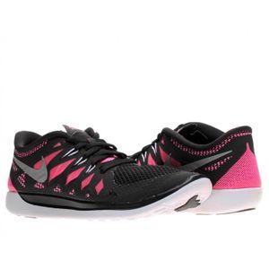 BASKET Baskets Nike Free 5 644446 001 Noir et Rose.