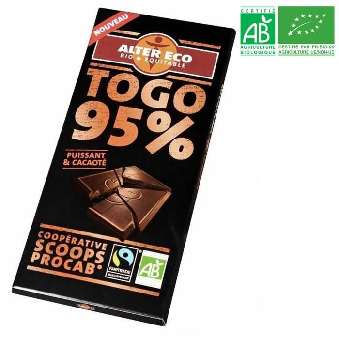 ALTER ECO Chocolat Noir Togo 95% Bio 90g