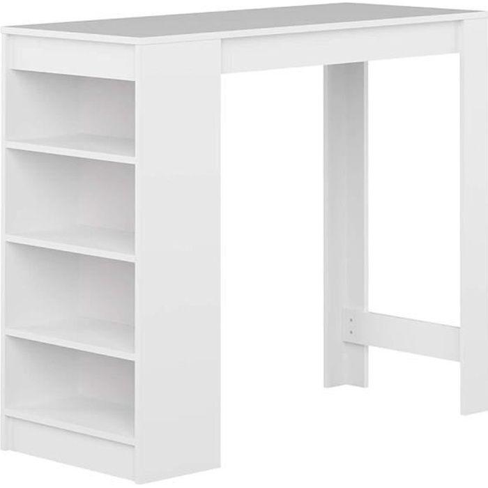 Table bar Table de cuisine HOMPOT blanc 115*50*103CM