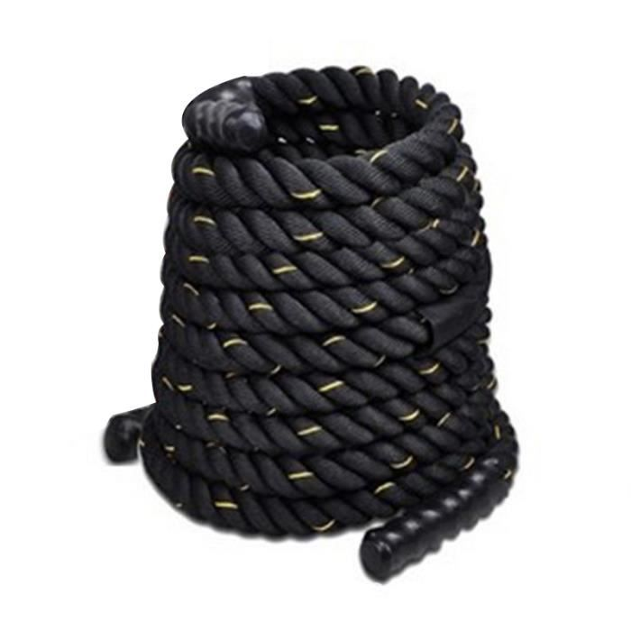 Royalbell® Rope - Corde d'entrainement intensif corde cross-training (15m, diamètre 3,8cm, nylon ultra-résistant) - noir