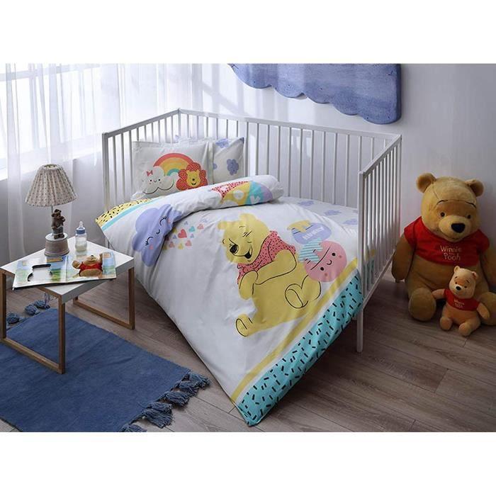 100% coton bio doux et Sain Lit pour bébé Housse de couette Lot de 4 pièces, Parure de lit de Winnie l'Ourson Hunny