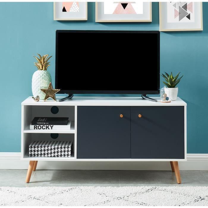 MAX Meuble TV scandinave - blanc et gris - L110cm
