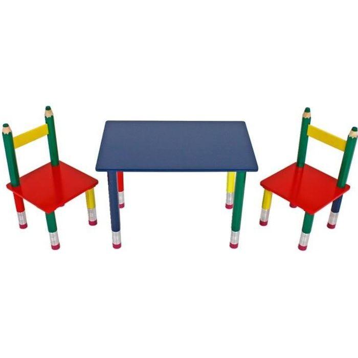 Table deux chaises multicolores chambre d'enfant bois design du crayon meuble appartement
