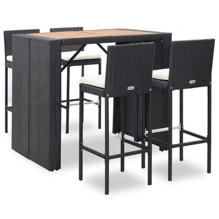 Moderne -Ensemble Table de bar + 4 bar Mange-Debout Ensemble Table et Chaises Résine tressée et bois d'acacia Noir #18790