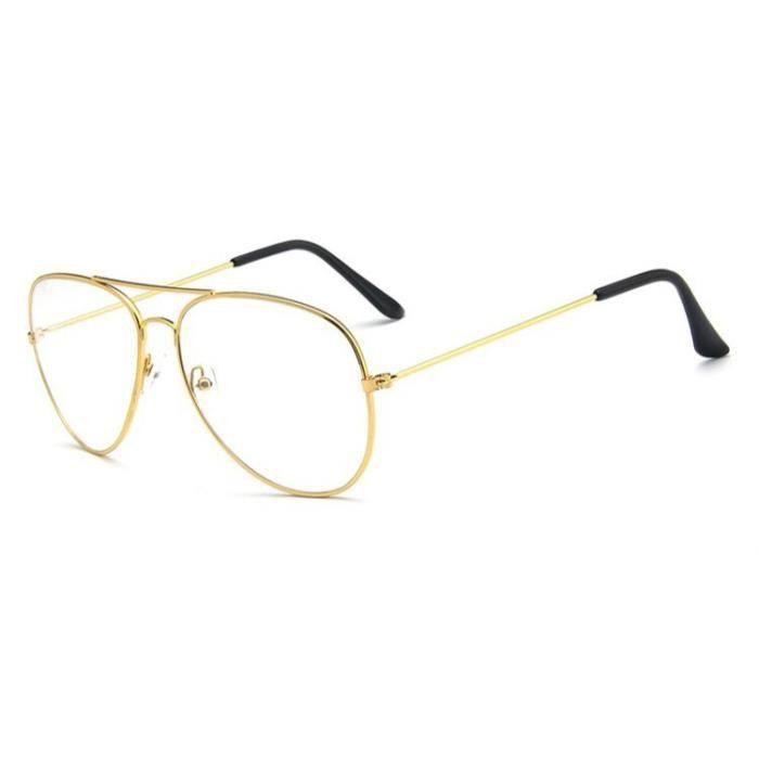 Montures de Lunettes de vue,Lunettes classiques claires monture dorée Vintage Lunettes De soleil pour femmes et hommes - Type Gold