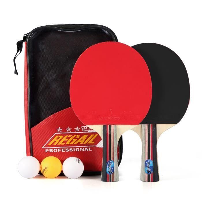 Kit Familial Set De Tennis De Table - 2 Raquette Ping Pong + 3 Balle+1 Sac HB016 -PAS
