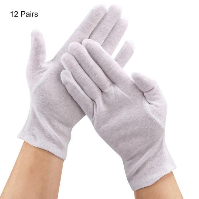 Atyhao Gants de ménage 12 Paires Gants de Protection de Coton pour Usage des Travaux Ménagers Agricoles Industriels(Blanc )