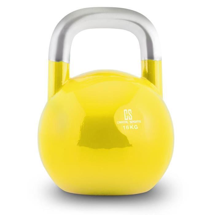 Capital Sports Compket 16 Kettlebell haltère poids acier 16kg -jaune