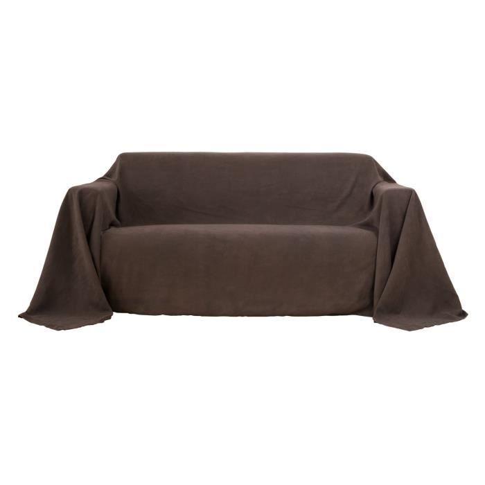 Deconovo Jeté de Canapé Grande Taille Jeté de lit Suédé Protéger Votre Canapé 210x280cm Brun Foncé