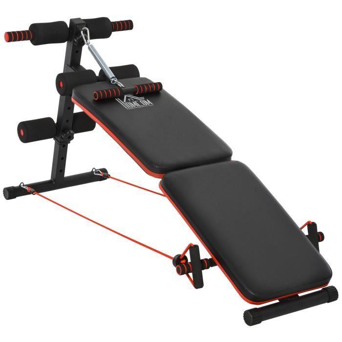 Banc de musculation pliable multifonction banc Fitness sit-up sangles d'extension latérales + ressort traction acier simili cuir