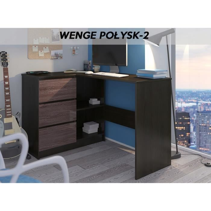 KIAN W - Bureau d'angle + rangements + 3 tiroirs - 112x87x76 - Table d'ordinateur forme de L - Table de travail - Wengé