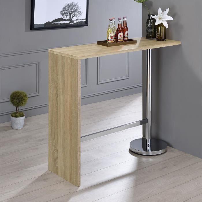 Table haute de bar RICARDO mange-debout comptoir piètement métal chromé, plateau en MDF décor chêne sonoma