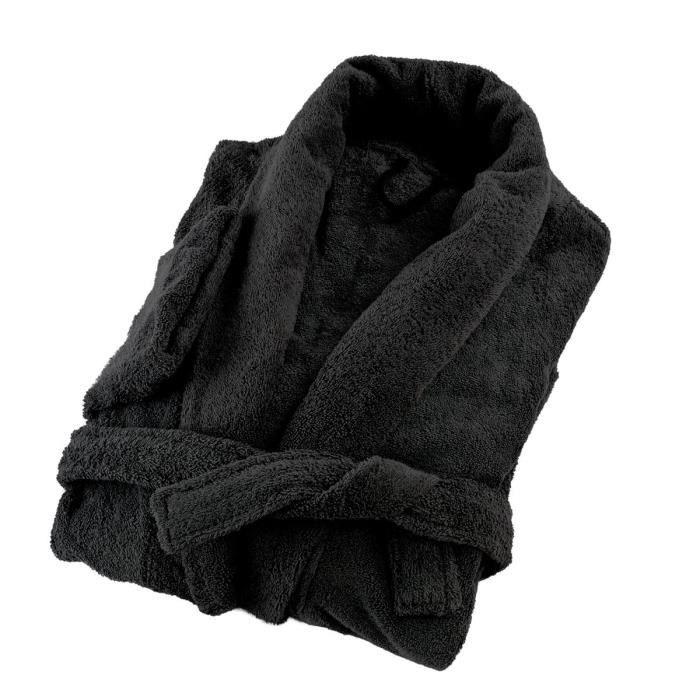 LINANDELLE - Peignoir coton éponge col chale PREMIUM - Noir - Adulte Homme - 3XL