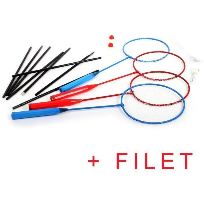 set de 4 raquettes Badminton + Filet + 2 Volants j