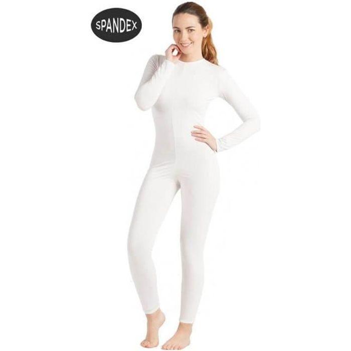 Justaucorps ou Combinaison Spandex Super Élastique Blanc pour femme