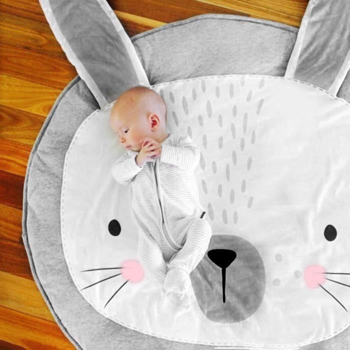 Tapis de jeu activités bébé couverture Tapis à langer forme de lapin jouant enfants- GRIS