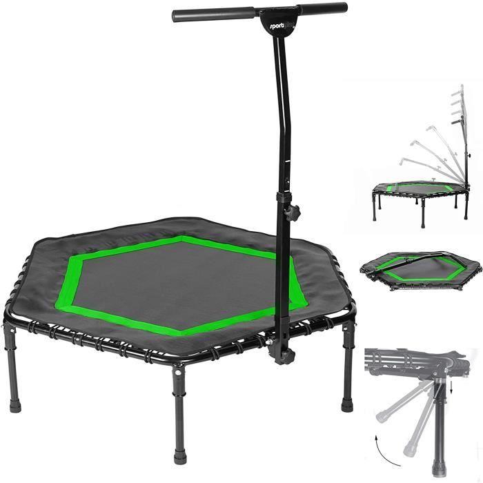 Trampoline de Fitness Pliable - SportPlus - Poignée en forme T réglable en hauteur sur 5 positions, vert, Ø 126 cm