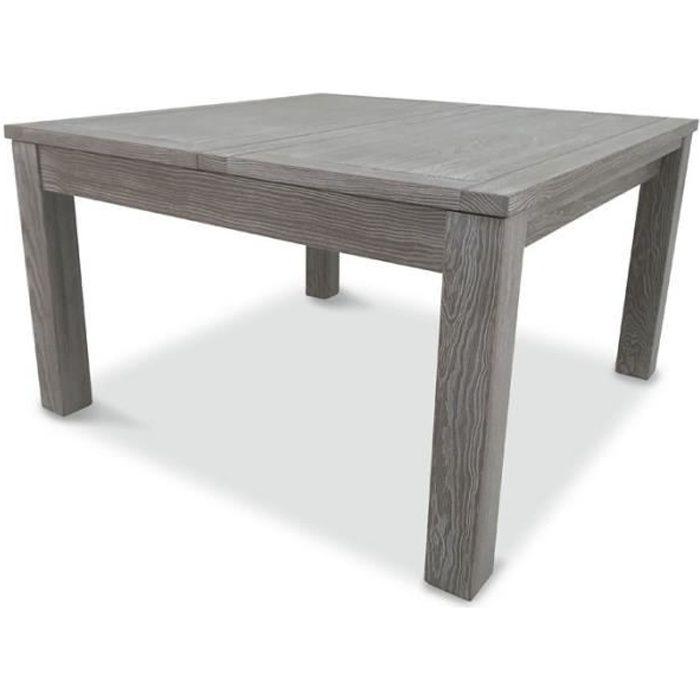 Table de repas carrée à allonge Bois massif - GABRIEL - L 130/185 x l 130 x H 75