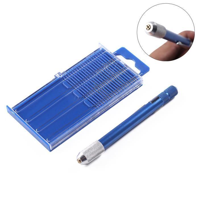 Perceuse à Main avec 10Pcs Foret Mince 0.5-2mm Outil pour Artisanat...