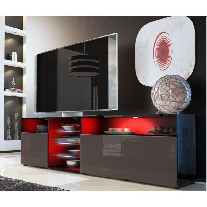 meuble tv noir et chocolat sans led compos de 6 espaces. Black Bedroom Furniture Sets. Home Design Ideas