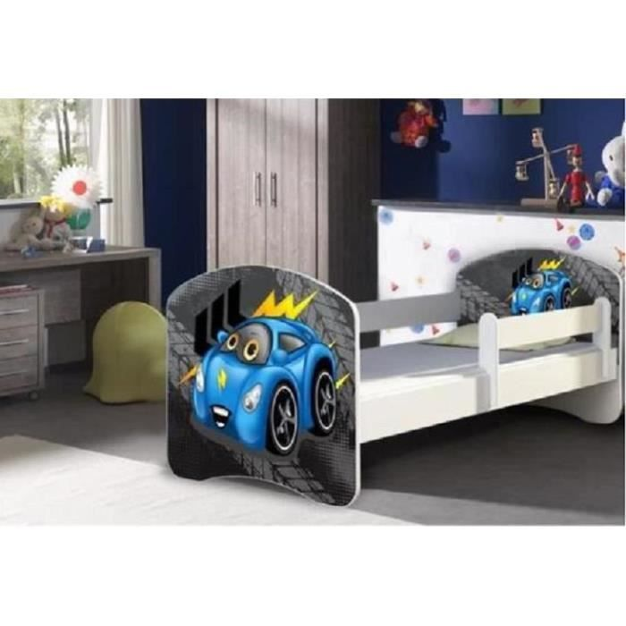 lit enfant mini voiture bleu sommier et matelas 140x70 cm achat vente lit complet lit. Black Bedroom Furniture Sets. Home Design Ideas