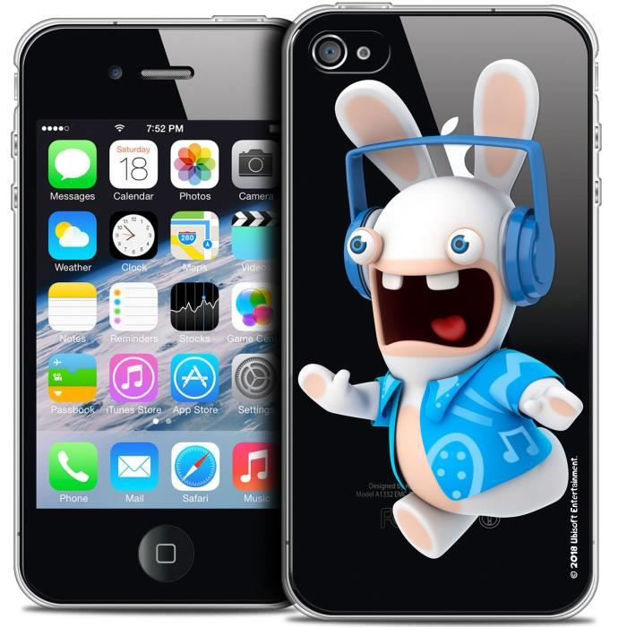 Coque iPhone 4/4s Lapins Crétins Techno Lapin - Antichoc - Gel ...