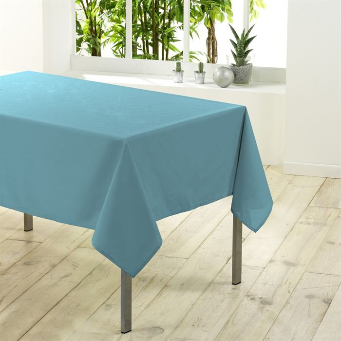 nappe rectangulaire 200cm essentiel bleu turquoise achat vente nappe de table cdiscount. Black Bedroom Furniture Sets. Home Design Ideas