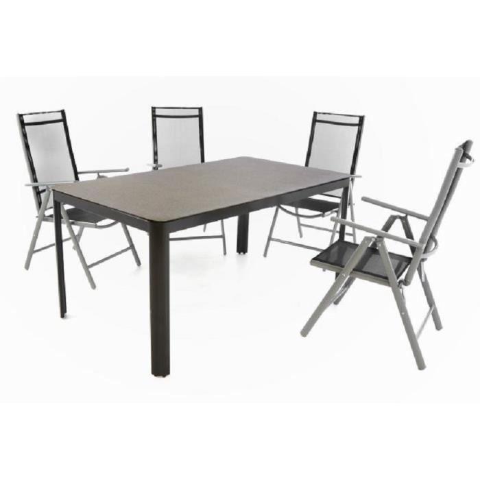 Lot 4 chaises pliantes textilene noir + table avec plateau ...