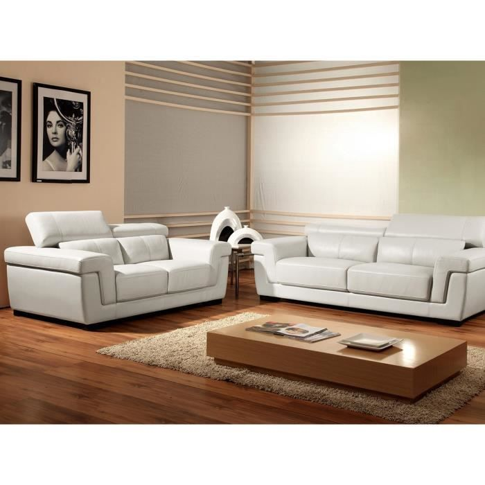 canap cuir 2 places blanc evasion achat vente canap sofa divan cdiscount. Black Bedroom Furniture Sets. Home Design Ideas