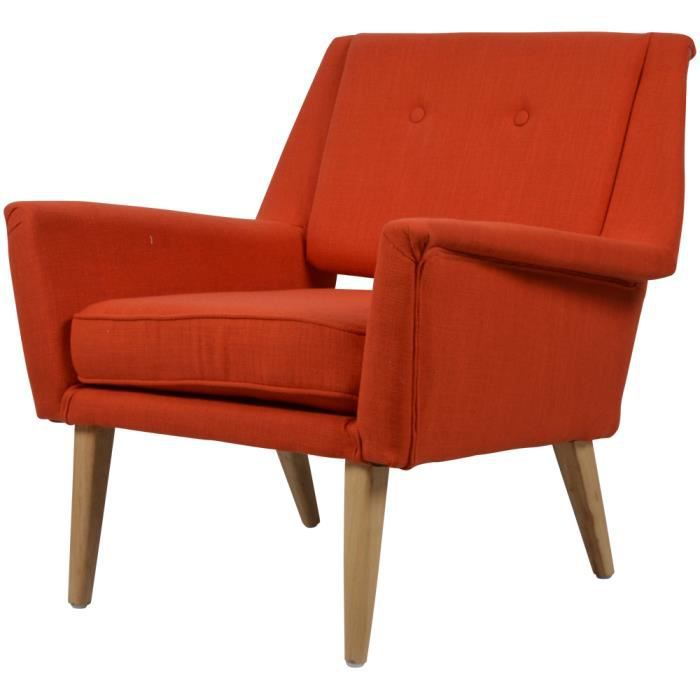 fauteuil design en toile orange brando achat vente fauteuil toile lin polyester bouleau. Black Bedroom Furniture Sets. Home Design Ideas