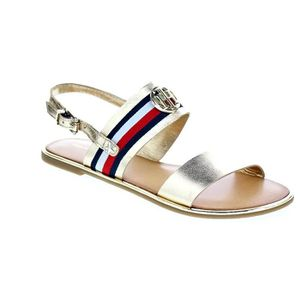 Corporate Tommy Flat Met Femme Sandales Hilfiger sandal Or Ribbon wqdxFBE1