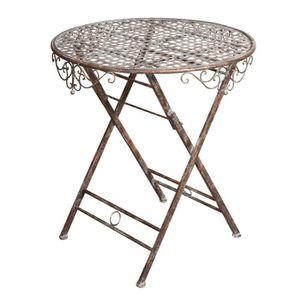 TABLE À MANGER SEULE Table avec plateau pliant en fer forgé rouille ant
