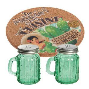 SALIERE - POIVRIERE Set sel poivre et dessous de plat Cactus
