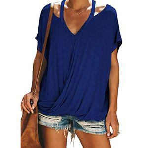T-SHIRT Femmes d'été V Neck Tee Shirts Casual Drapé Tops m