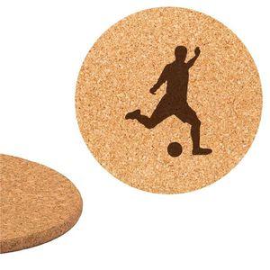 DESSOUS DE PLAT  Dessous de plat en liège 18cm gravé foot football