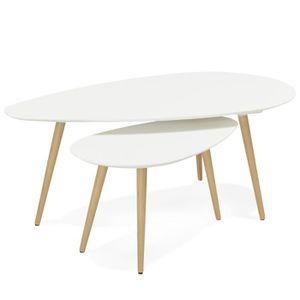TABLE BASSE Set de 2 Tables basses scandinave ovale blanche
