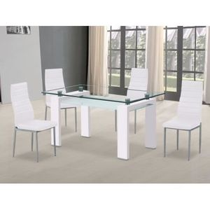 Table a manger en verre trempe blanc achat vente table for Table haute 6 couverts