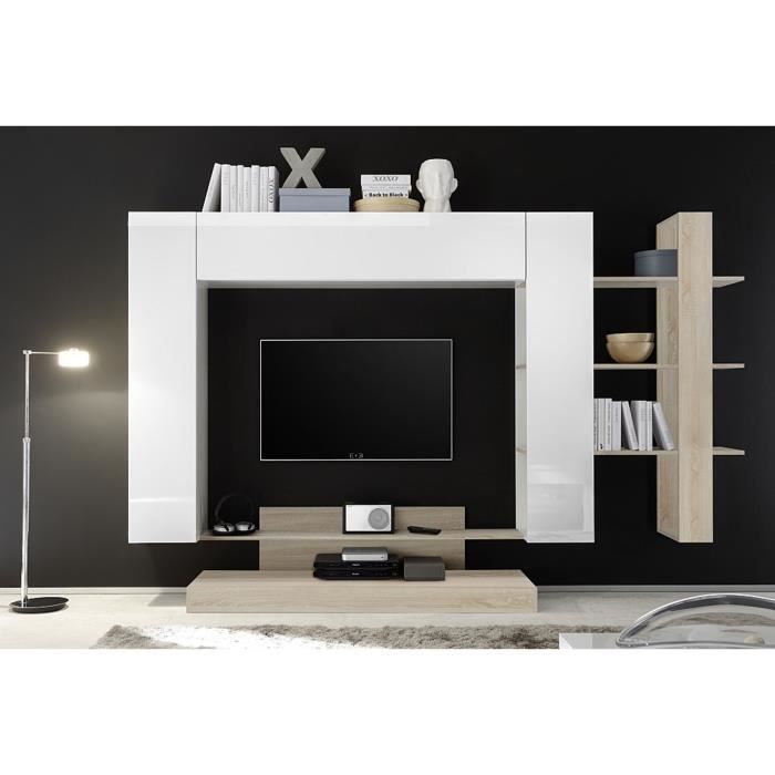 LEONTINE 2 LAQUE BLANC AVEC MEUBLE TV ET ETAGERE CHENE ENSEMBLE COMPOSITION MEUBLE TV TENDANCE