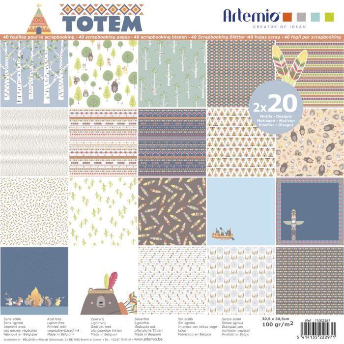 40 Feuilles Papiers Scrapbooking 30.5 x 30.5 - Assortiment Papiers Totem - Bloc Papier Totem