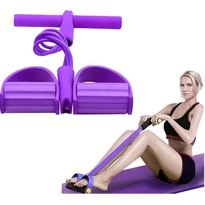 Corde de Tension Multifonctionnelle,Élastique Tension Pied de Pédale,Sit-up Bodybuilding Expander,4 Tube Jambe Exerciseur,mauve