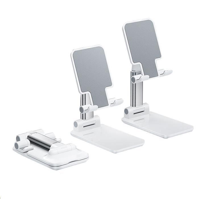 Support de bureau télescopique pliable paresseux support de téléphone portable (blanc)