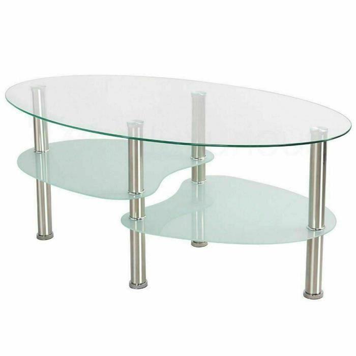 Table de salon Table basse HOMPOT blanche en verre trempé (90*50*42cm)