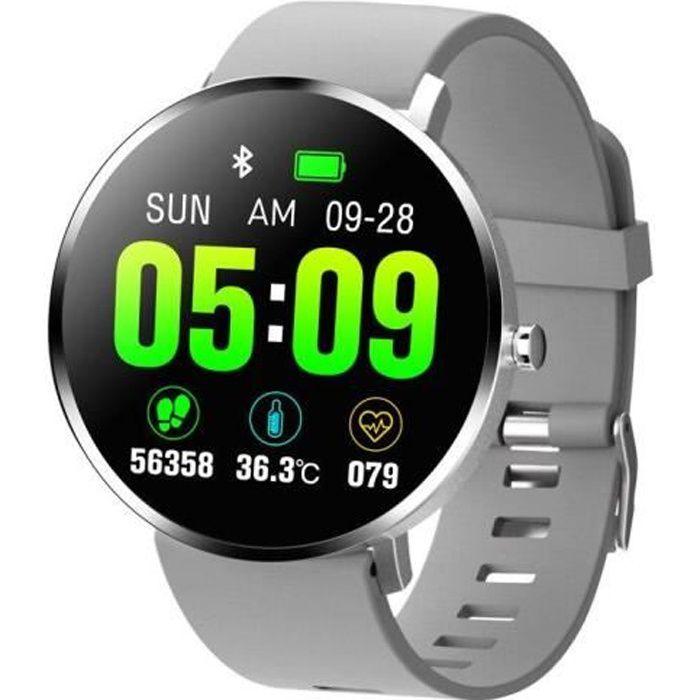 Montre connectée F25T Montre intelligente hommes IP67 température corporelle fréquence cardiaque Bluetooth Traqueur Fitness Gris DN1