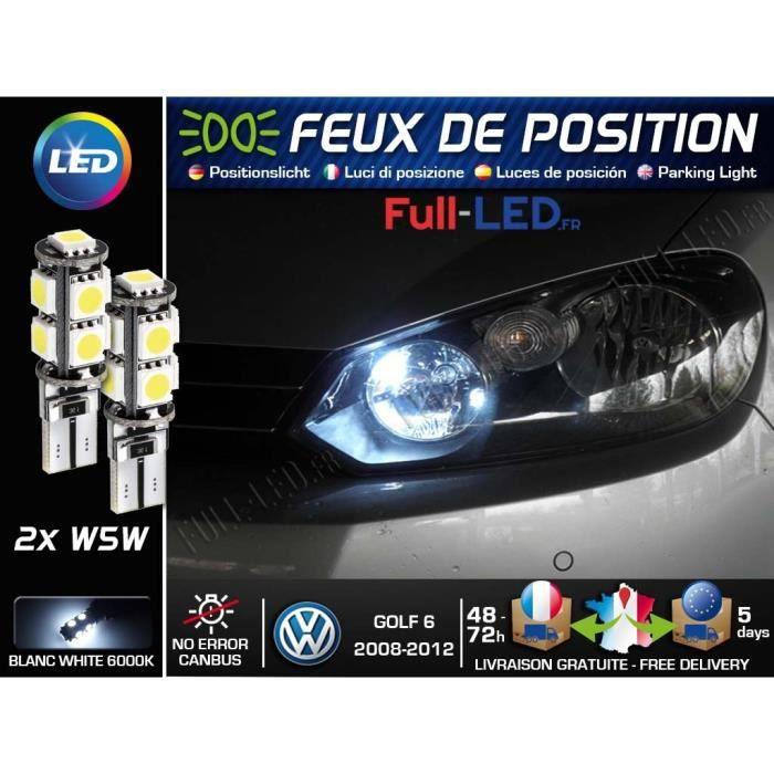 Ampoules W5W Feux de position LED - Volkswagen Golf 6 - Blanc Xénon
