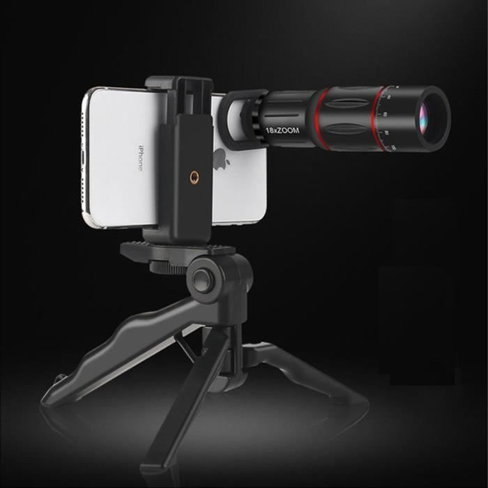 Pack Photo pour WIKO View 5 Smartphone (Objectif Zoom x18 + Mini Trepied + Telecommande) Universel Pochette (NOIR)