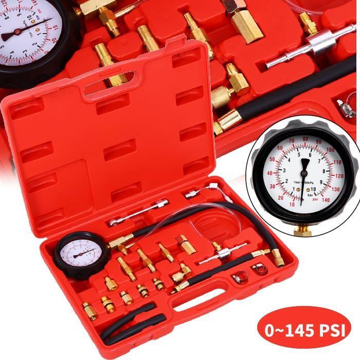0 - 145 PSI Kit Testeur Pression de Carburant Manomètre Huile Testeur de Pression d'Essence