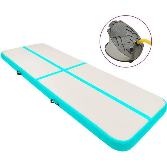 Tapis gonflable de gymnastique Tapis gonflable de gymnastique - tapis de gym gonflable sol avec pompe 300x100x15cm PVC Vert