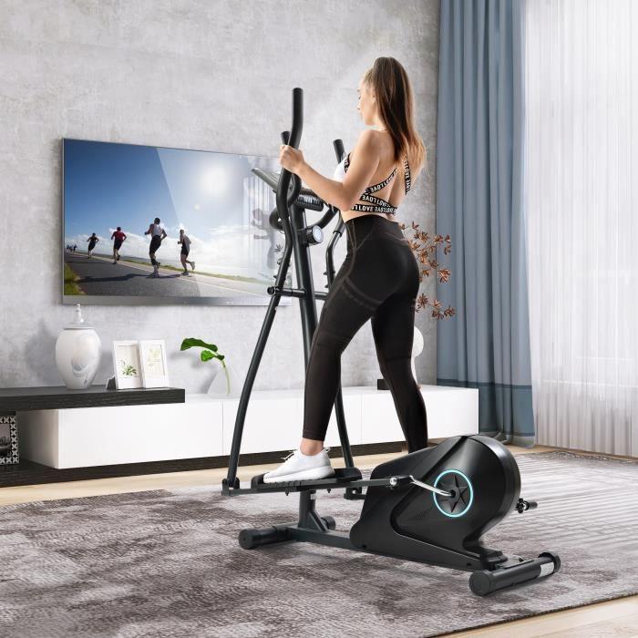 Merax Vélo Elliptique Ergonomique, 8 Niveaux de Résistance, Pouls, LCD, Pour Fitness et cardio - Crosstrainer ( max 150kg)