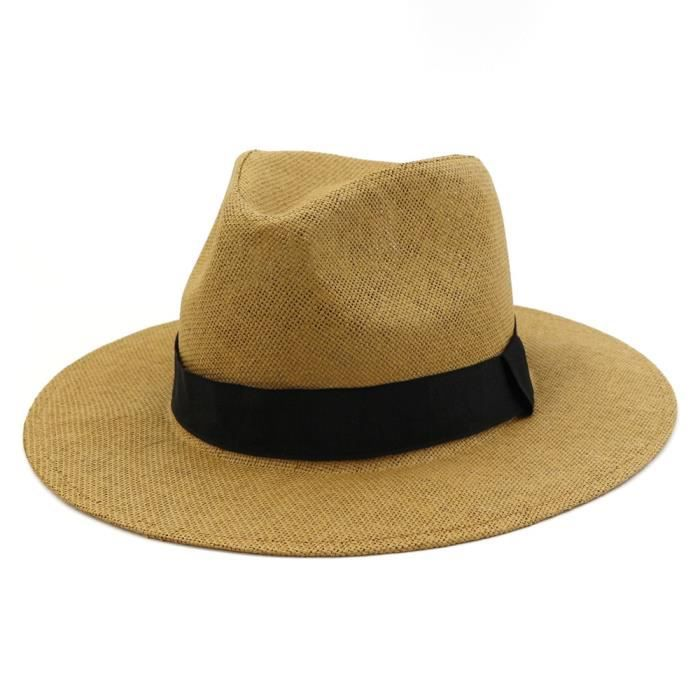 Kaki Taille unique -Chapeau de paille d'été pour hommes et femmes, Chapeau de plage, Style britannique, Fedora, Sombrero