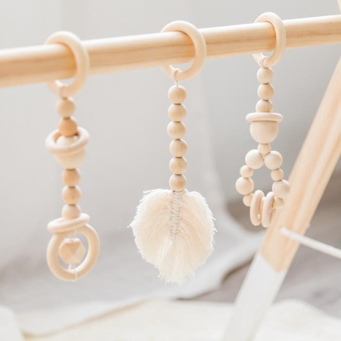 Tapis d'éveil,Faisons bébé salle de sport bois Crochet étoile cloche licorne hêtre bois jouets de dentition jouer - Type Set2